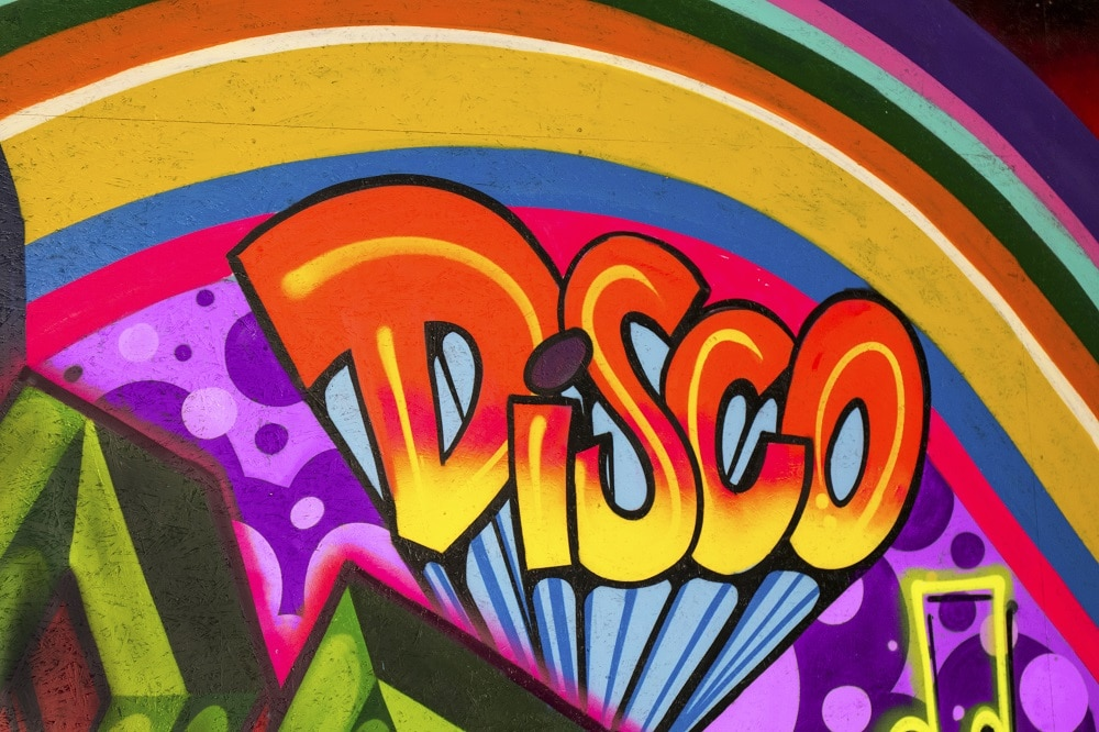 Roller Planet Amsterdam graffiti met het woord Disco